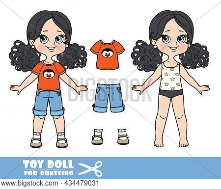Cartoon Girl With Black Ponytails Hairstyle Dressed And Clothes Separately -  T-shirt With A Penguin