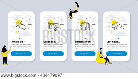 Set Of Technology Icons, Such As Seo Certificate, Touchscreen Gesture, Group Icons. Ui Phone App Scr