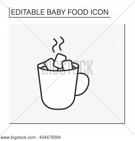 Drink Line Icon. Tasty Hot Drink. Delicious Sweet Cacao With Marshmallow. Baby Food Concept. Isolate
