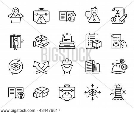 Vector Set Of Elevator, Help And Return Parcel Line Icons Set. Packing Boxes, Parcel Checklist And B