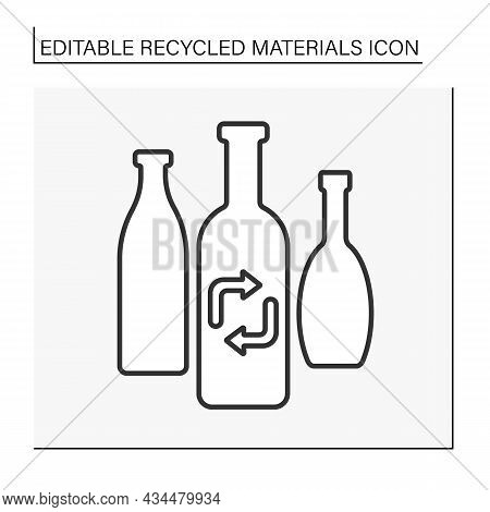 Glass Recycling Line Icon. Recycling Glass Bottles. Waste. Recycled Materials Concept. Isolated Vect