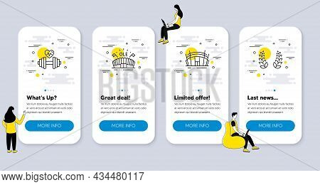 Set Of Sports Icons, Such As Sports Arena, Dumbbell, Arena Stadium Icons. Ui Phone App Screens With