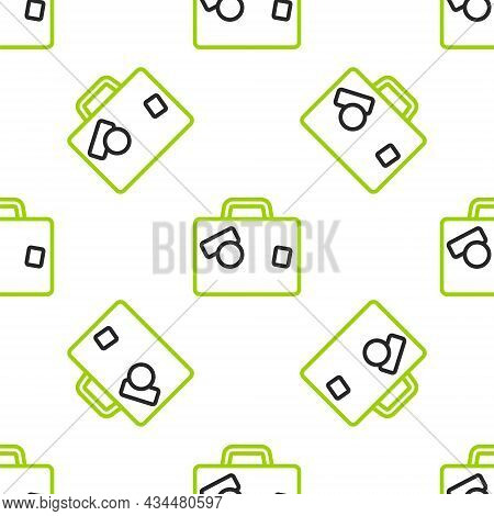 Line Suitcase For Travel Icon Isolated Seamless Pattern On White Background. Traveling Baggage Sign.