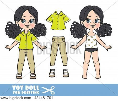 Cartoon Girl With Black Ponytails Hairstyle Dressed And Clothes Separately - Salad Green Shirt, Oliv