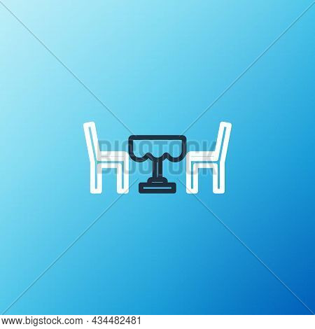Line French Cafe Icon Isolated On Blue Background. Street Cafe. Table And Chairs. Colorful Outline C