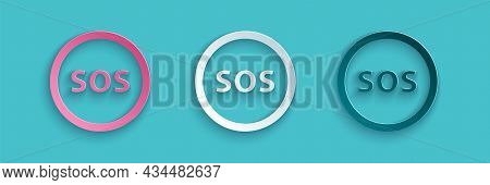 Paper Cut Location With Sos Icon Isolated On Blue Background. Sos Call Marker. Map Pointer Sign. Pap