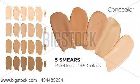 Vector Foundation Smudges. Make Up Concealer Gel. Color Female Swatch. Face Care Background. Foundat