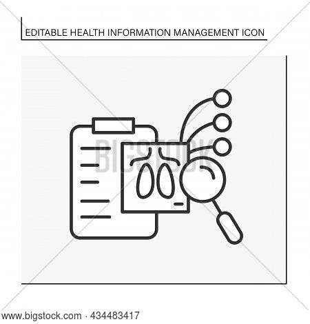 Researching Line Icon. Lungs Diagnostic. Covid19 Disease. Examination Of Internal Organs. Diagnosis
