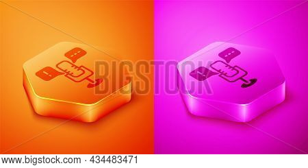 Isometric Freedom Of Speech Icon Isolated On Orange And Pink Background. Freedom Of Expression. Hexa