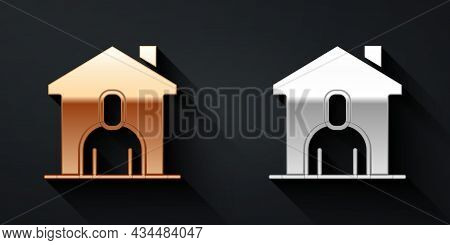 Gold And Silver Shelter For Homeless Icon Isolated On Black Background. Emergency Housing, Temporary
