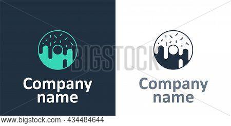 Logotype Donut With Sweet Glaze Icon Isolated On White Background. Logo Design Template Element. Vec