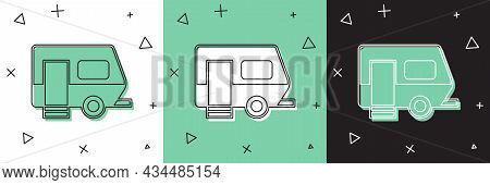 Set Rv Camping Trailer Icon Isolated On White And Green, Black Background. Travel Mobile Home, Carav
