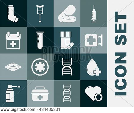 Set Heart With A Cross, Donate Drop Blood, Hospital Signboard, Medicine Pill Or Tablet, Test Tube An