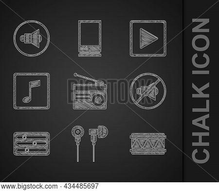 Set Radio With Antenna, Air Headphones, Drum, Speaker Mute, Sound Mixer Controller, Music Note, Tone