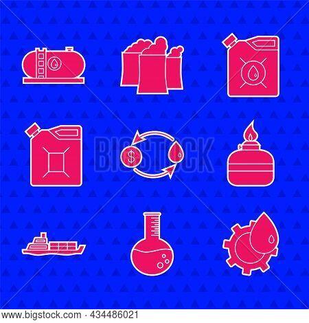Set Oil Exchange, Petrol Test Tube, Industrial Factory Building, Alcohol Spirit Burner, Tanker Ship,