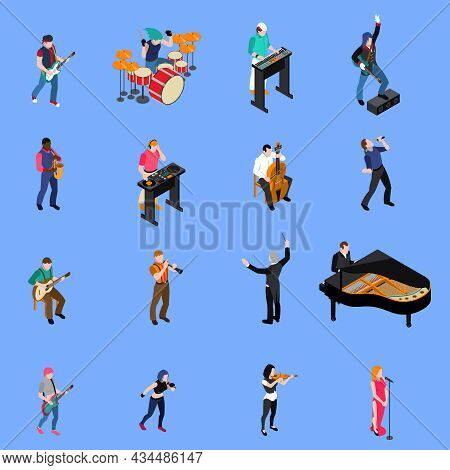 Musicians People Singing And Playing Various Musical Instruments Isometric Icons Set Isolated On Blu