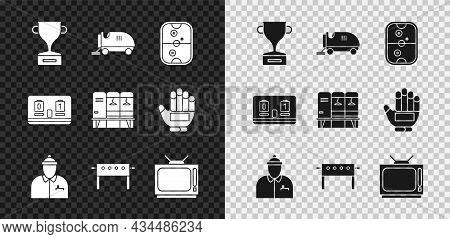 Set Award Cup, Ice Resurfacer, Air Hockey Table, Hockey Coach, Retro Tv, Mechanical Scoreboard And L