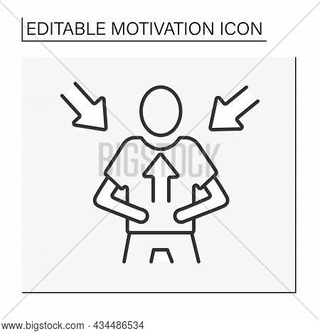 Intrinsic Motivation Line Icon. Internal Rewards For A Person. Inspiration. Motivation Concept. Isol