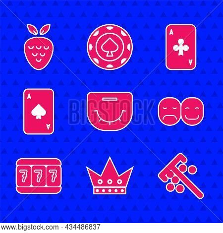Set Poker Table, King Playing Card, Stick For Chips, Player, Slot Machine With Lucky Sevens, Playing