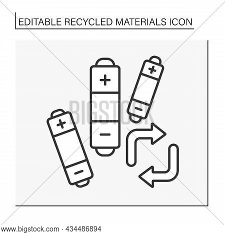Battery Recycling Line Icon. Recycling Activity. Reduce The Number Of Batteries. Disposed Solid Wast