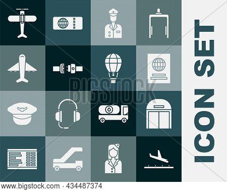 Set Plane Landing, Aircraft Hangar, Passport, Pilot, Safety Belt, And Hot Air Balloon Icon. Vector