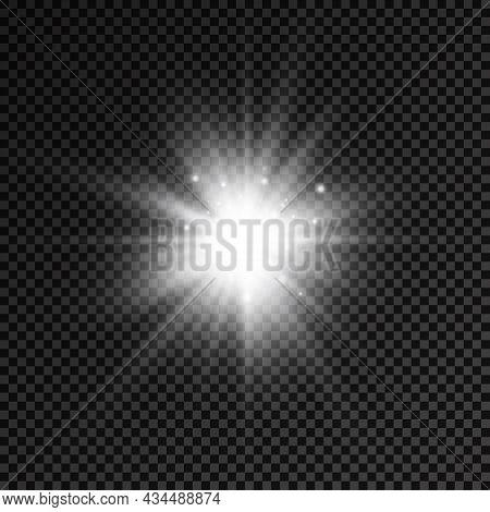 White Glowing Light Star, Burst Sun Rays.