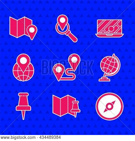 Set Route Location, Folded Map With Push Pin, Compass, Earth Globe, Push, Location The, City Navigat