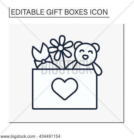 Present Line Icon. Gift Box With Teddy Bear, Fashion Dress And Flower. Birthday Congratulation, Surp