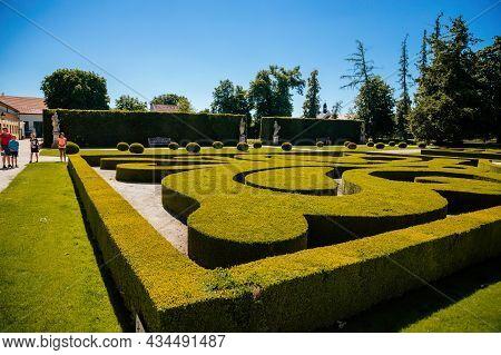 Jaromerice Nad Rokytnou, Bohemia, Czech Republic, 06 July 2021: Baroque Romantic Chateau With Park,