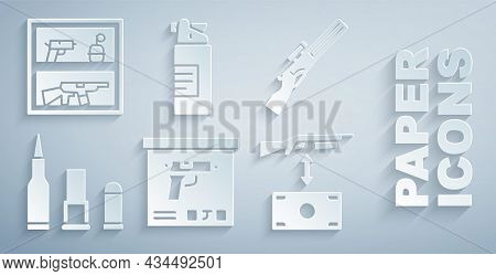 Set Military Ammunition Box, Hunting Gun, Bullet, Buying Assault Rifle, Weapons Oil Bottle And Shop