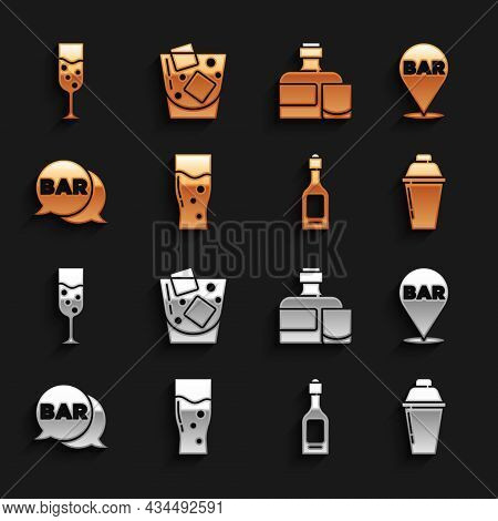 Set Glass Of Beer, Alcohol Bar Location, Cocktail Shaker, Champagne Bottle, Street Signboard With Ba