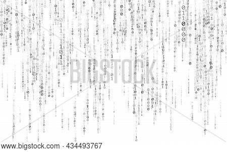Binary Code On White Background. Matrix Texture With Falling Numbers. Abstract Data Stream. Random F