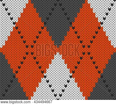 Knitted Argyle Halloween Pattern