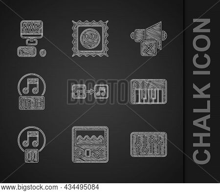 Set Music Note, Tone, Drum Machine, Sound Mixer Controller, Synthesizer, Pause Button, Speaker Mute