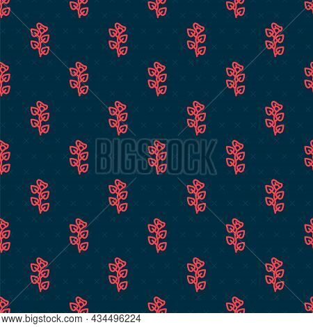 Red Line Ivy Branch Icon Isolated Seamless Pattern On Black Background. Branch With Leaves. Vector