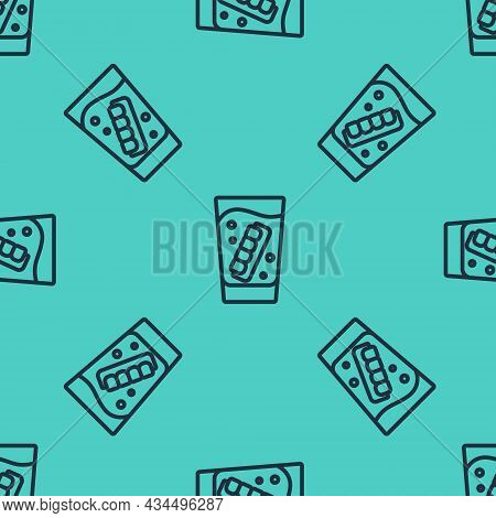 Black Line False Jaw In Glass Icon Isolated Seamless Pattern On Green Background. Dental Jaw Or Dent