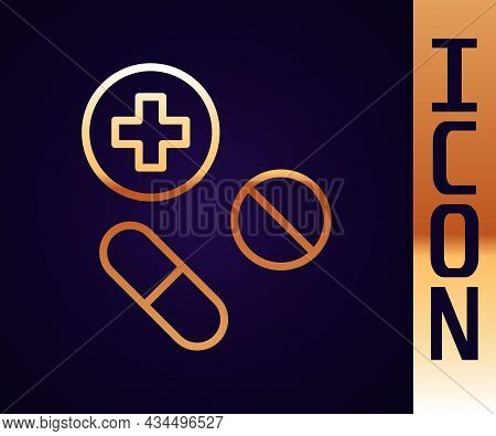 Gold Line Medicine Pill Or Tablet Icon Isolated On Black Background. Capsule Pill And Drug Sign. Pha