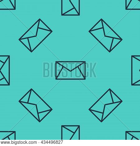 Black Line Mail And E-mail Icon Isolated Seamless Pattern On Green Background. Envelope Symbol E-mai