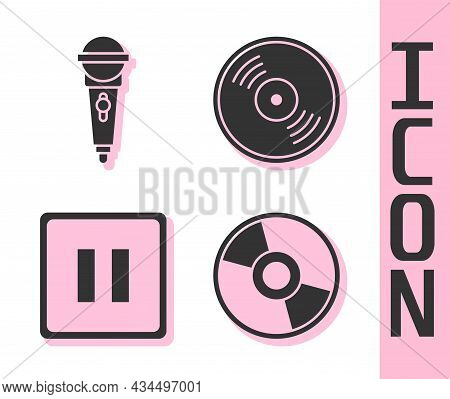 Set Cd Or Dvd Disk, Microphone, Pause Button And Vinyl Disk Icon. Vector