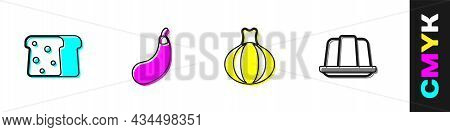 Set Bread Toast, Eggplant, Onion And Jelly Cake Icon. Vector