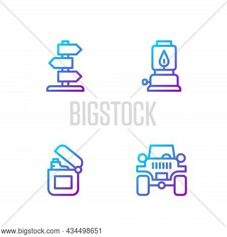 Set Line Off Road Car, Lighter, Road Traffic Sign And Camping Lantern. Gradient Color Icons. Vector