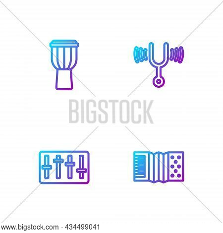 Set Line Accordion, Sound Mixer Controller, Drum And Musical Tuning Fork. Gradient Color Icons. Vect
