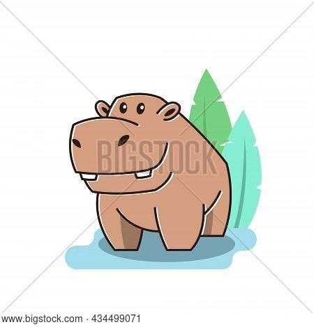 Cute Happy Big Hippo Hippopotamus Standing Pond Mascot Character Cartoon