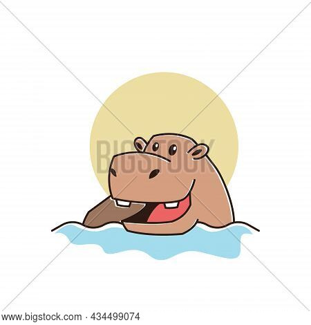 Cute Happy Big Hippo Hippopotamus Swimming River Mascot Character Cartoon