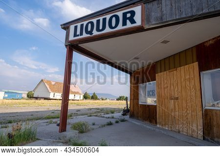 Jeffrey City, Wyoming - August 5, 2021: The Abandoned And Closed Liquor Store In The Ghost Town, Boa