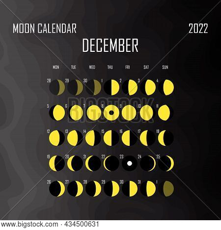December 2022 Moon Calendar. Astrological Calendar Design. Planner. Place For Stickers. Month Cycle