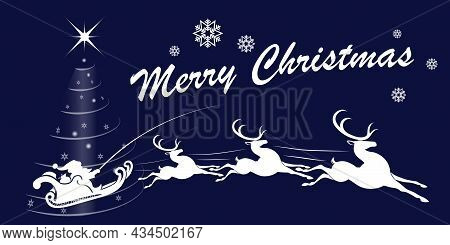 Christmas Blue Illustration, Santa Claus Is Riding A Sleigh In Harness With Reindeer.