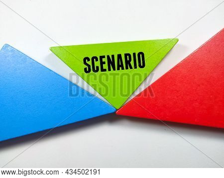 Business Concept.text Scenario Writing On Colored Tangram On A White Background.