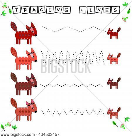 Tracing Lines Game With Funny Animals Foxes. Worksheet For Preschool Kids, Kids Activity Sheet, Prin