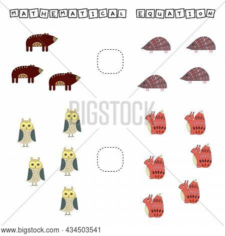 Developing Activities For Children, Compare Which More Hedgehog, Squirrel, Bear, Owl. Logic Game For